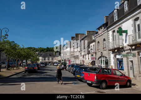 Huelgoat town centre, Brittany, France, Europe - Stock Image
