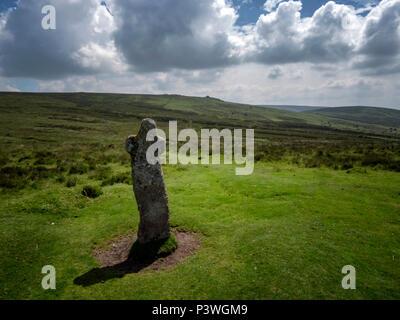Bennett's Cross on the Two Moors Way, near Postbridge, Datmoor National Park, Devon - Stock Image