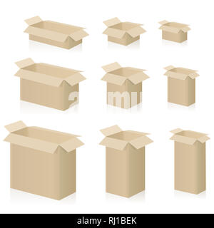 Cardboard boxes, different sizes, packing cases with open lid - illustration on white background. - Stock Image