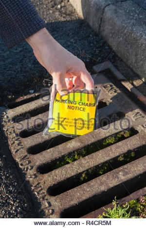 Person throwing away a parking ticket down a drain - Stock Image