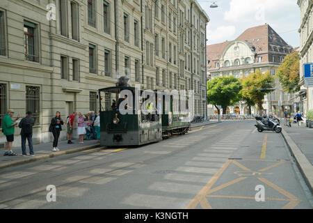 Bern Steam tram in Wallgasse -1 - Stock Image