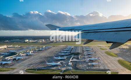 London Heathrow Airport, Terminal 5, aerial view from plane taking off - Stock Image