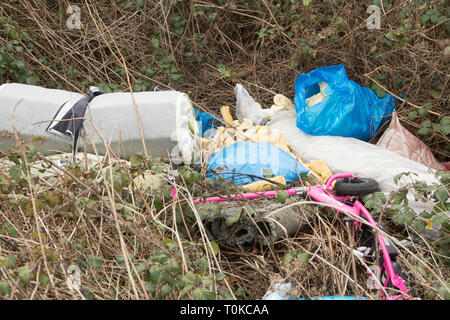 Rubbish fly tipped in the countryside, Co. Durham, England, UK - Stock Image