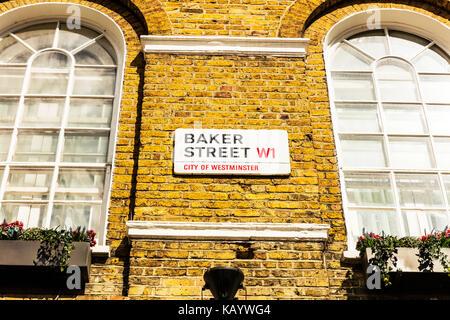 Baker street London UK, Baker street,  Baker street sign London W1, Baker street London UK England, Baker street - Stock Image