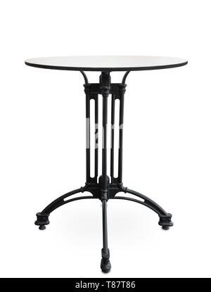 Front view of small cast iron coffee table isolated on white - Stock Image