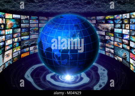 worldwide internet streaming service concept. elements of this image furnished by NASA. 3D rendering. - Stock Image