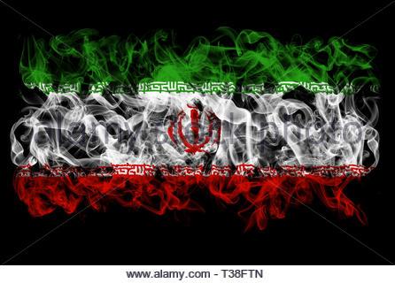 Smoking flag of Iran - Stock Image