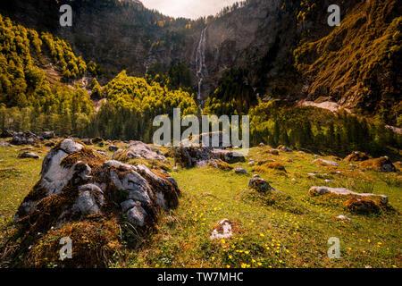 Roethbachfall waterfall in germany near lake Obersee in Bavaria in summer - Stock Image
