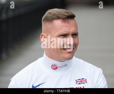 London,UK,25th April 2019,David Weir(GB) attends The London Marathon Wheelchair Athletes Photocall takes place outside the Tower Hotel with Tower Bridge in the background ahead of the his 20th consecutive London Marathon on Sunday.Credit: Keith Larby/Alamy Live News - Stock Image