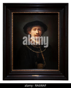 Rembrandt Self-portrait Self Portrait wearing a Hat and two Chains 1642 1643 at the age of 36 37. - Stock Image
