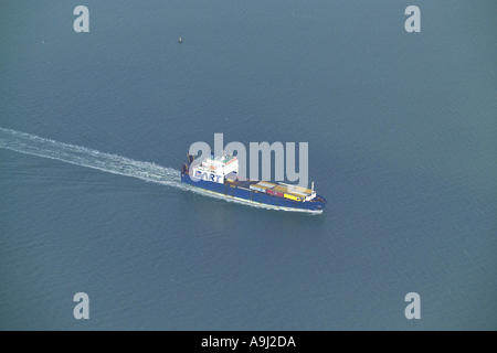 Aerial view of a Dart Container Ship at sea in the English Channel - Stock Image