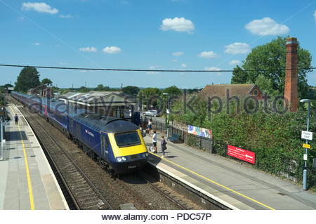 A London bound train calls at Castle Cary railway station, in rural Somerset, UK. - Stock Image