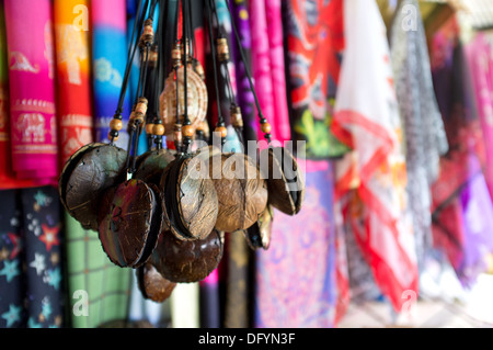 Handmade wooden necklaces on sale in Koh Panyee market, Thailand. - Stock Image