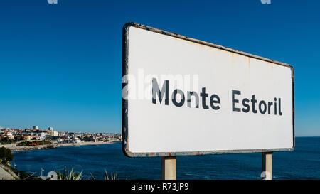 Sign entrance to the resort coastal city of Monte Estoril, near Lisbon, Portugal. - Stock Image