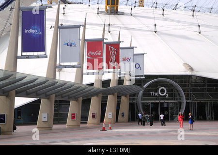 Entrance to the O2 Arena Greenwich Peninsula London - Stock Image