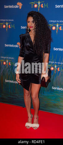 London, United Kingdom. 16 January 2019. Vick Hope arrives for the red carpet premiere of Cirque Du Soleil's 'Totem' held at The Royal Albert Hall. Credit: Peter Manning/Alamy Live News - Stock Image