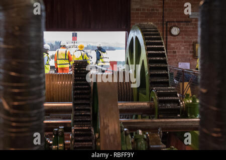 Balloch, Loch Lomond, Scotland, UK. 10th Jan, 2018. The Maid of the Loch at the end of Balloch Steam Slipway, a Category A listed building prior to the start of winching to remove the boat from the water for major refurbishment - viewed from inside the original winchhouse. Unfortunately once winching began, the carriage broke and the boat rolled back down the slipway into the water Credit: Kay Roxby/Alamy Live News - Stock Image