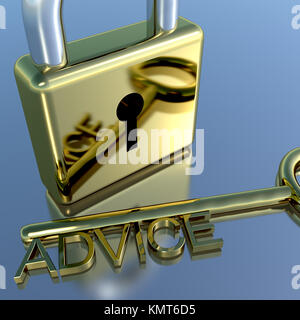 Padlock With Advice Key Showing Support Help Or Information - Stock Image