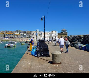 Brand new lobster pots on Smeatons pier,St Ives,Cornwall,England,UK - Stock Image
