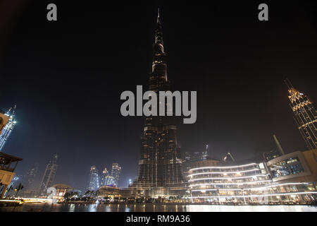Burj Khalifa at Night, Dubai, United Arab Emirates. - Stock Image