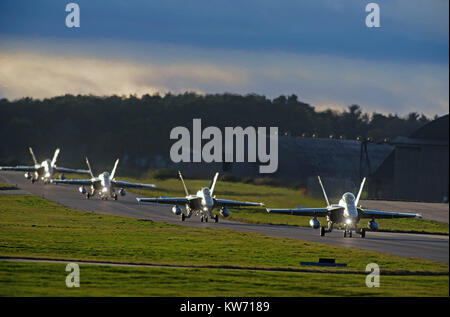 Swiss Air Force McDonnel Douglas F18C/A Hornets Fast Twin Engined Jet Fighter Aircraft.on 4 week pilot training - Stock Image