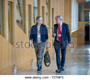 Edinburgh, UK. 4th April, 2019.  Scottish Labour Leader Richard Leonard and Claudia Beamish arriving for First Ministers Questions in the Scottish Parliament. Credit: Roger Gaisford/Alamy Live News - Stock Image