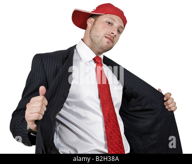 cool businessman on isolated background - Stock Image