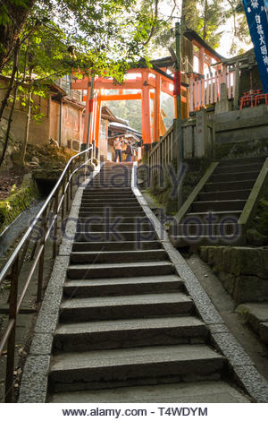 Man using his smartphone to photograph traditional Japanese torii gates painted in a vermilion red-orange color that is associated with the soul of In - Stock Image