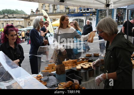 Frome Independent market,Artisan pies, cakes and pastries stall at the monthly market.Frome, Somerset.England. UK. - Stock Image