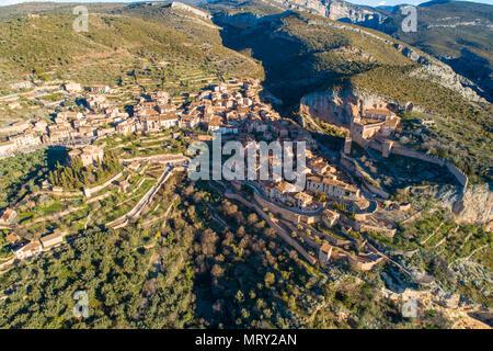 Aerial view of Alquezar village, Alquezar, Huesca, Aragon, Spain, Europe - Stock Image