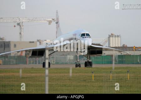 British Airways Aerospatiale-British Aerospace Concorde 102  taxiing for departure at London Heathrow Airport UK - Stock Image