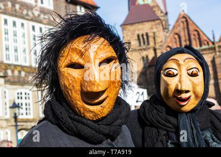 Wooden masks, Samba Carnival in Bremen, Germany, Europe - Stock Image