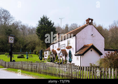 The Royal Oak 16th century country pub at Hooksway in South Downs National Park. Chilgrove, Chichester, West Sussex, England, UK, Britain - Stock Image