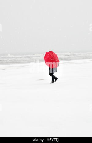 Person on the beach in Rimini,Italy,with red umbrella in snow storm - Stock Image