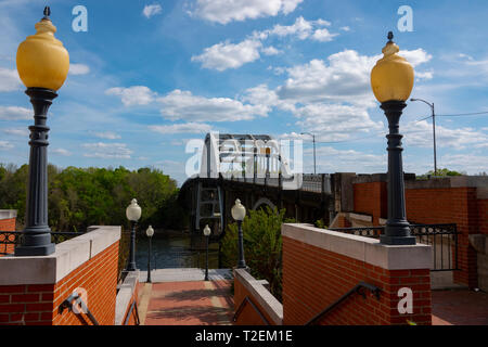 USA Alabama Selma Edmund Pettus Bridge over the Alabama River  Site of the Bloody Sunday Attack on African American marchers 1965 - Stock Image