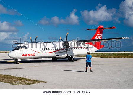 Air Tahiti ATR airplane in French Polynesia - Stock Image