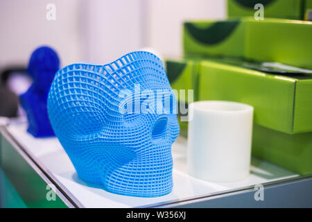 Plastic models at modern technology exhibition - Stock Image