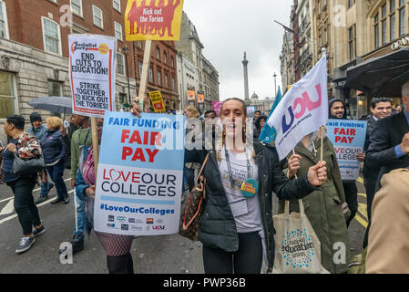 London, UK. 17th October 2018. Staff and students from Further Education Colleges across the country march from Waterloo Place to to a rally in Parliament Square calling for the vital work that FE Colleges do to be recognised and properly funded. The #Loveourcolleges action called for funding to allow the colleges to do their job properly and to pay teachers on comparable rates to their colleagues in schools and Higher Education. Credit: Peter Marshall/Alamy Live News - Stock Image