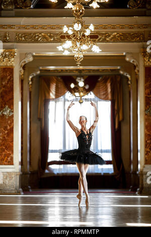 Beautiful ballerina dancing in a luxurious hall with a chandelier in a black dress against the window. - Stock Image