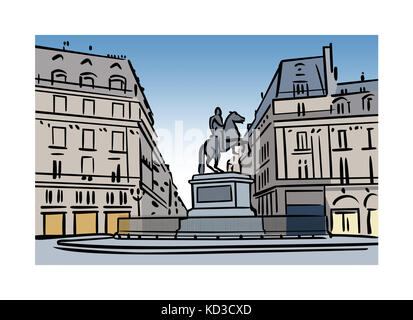Illustration of Place des Victoires, Paris, France - Stock Image