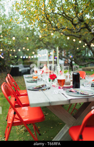 Table set for dinner garden party - Stock Image
