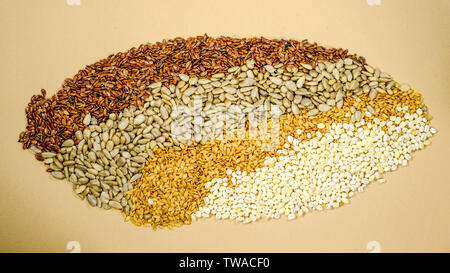 Natural Dried Healthy Seeds and Grains Sunflower Linseed Pearl Barley Superfoods - Stock Image
