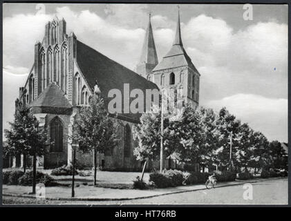 GERMANY - CIRCA 1965: A postcard printed in Germany, shows a Church of St. Mary (Marienkirche), Gransee, circa 1965 - Stock Image