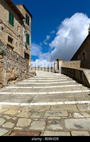 Stairway to the lookout terrace of  Masso Leopoldino, Sorano, Province of Grosseto, Tuscany, Italy - Stock Image