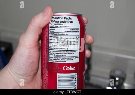 pop, coke cola, health, nutrition information - Stock Image
