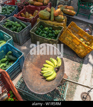 Fresh fruit and vegetables for sale in roadside stall in the Cuban village of Caleton,Bay of Pigs, Matanzas Province, Cuba, Caribbean - Stock Image