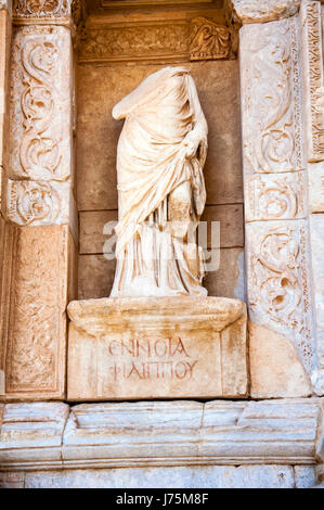 Statue in front of the Celsus Library, Ephesus, Selcuk, Lycia, Turkey, - Stock Image