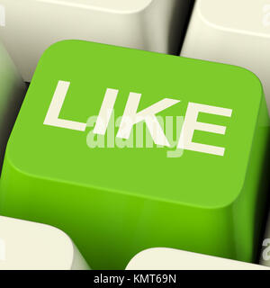 Like Computer Key In Green Showing Approval And Being Fans - Stock Image
