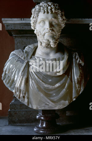 Septimius Severus (Leptis Magna, 145-York, 211 AD). Roman emperor (193-211 AD). Severan Dynasty. Bust, alabaster. Capitoline Museums. Rome, Italy. - Stock Image