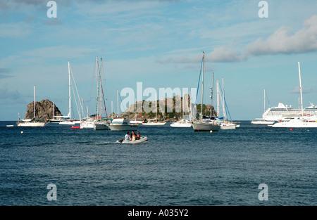 St Barths St Barts island sailboats - Stock Image